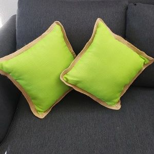 "🦋 Set of 2 green pillows 17 "" by 17 """